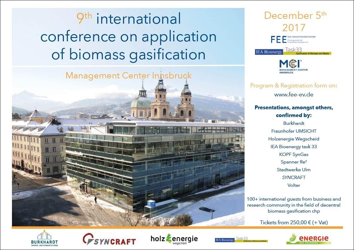 "9th ""Conference on Application of Biomass Gasification"" (Dec 5th) in Innsbruck, Austria"